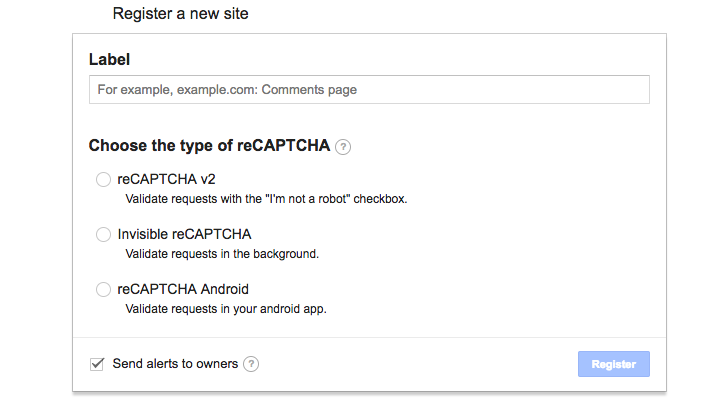 reCAPTCHA設定画面